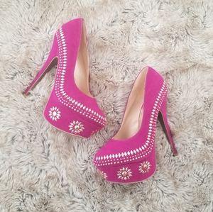 Scene Lilias Studded Velvet Pumps Hot Pink Size 9